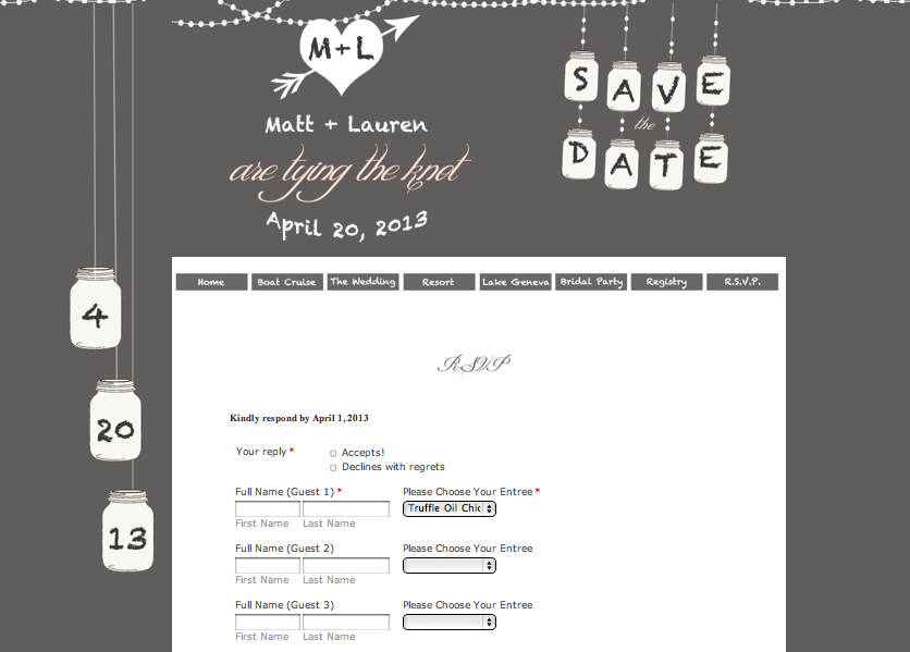 gray-wedding-rsvp-mason-jar | Chicago Wedding Websites