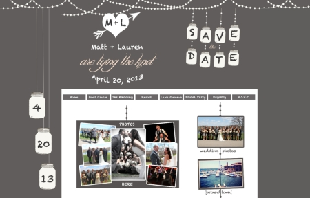 Gray & Blush Wedding Website, Mason Jar Wedding