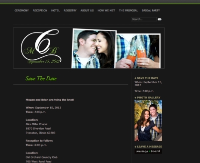 black and green wedding website