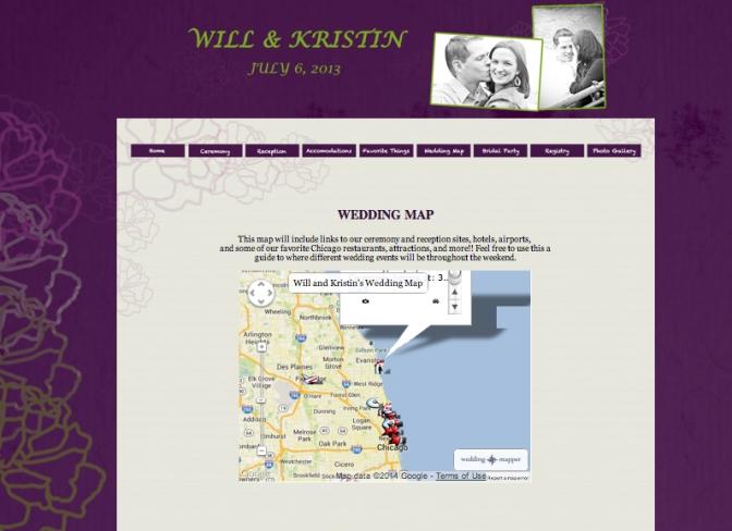 Purple & Green Wedding Website - Wedding Map