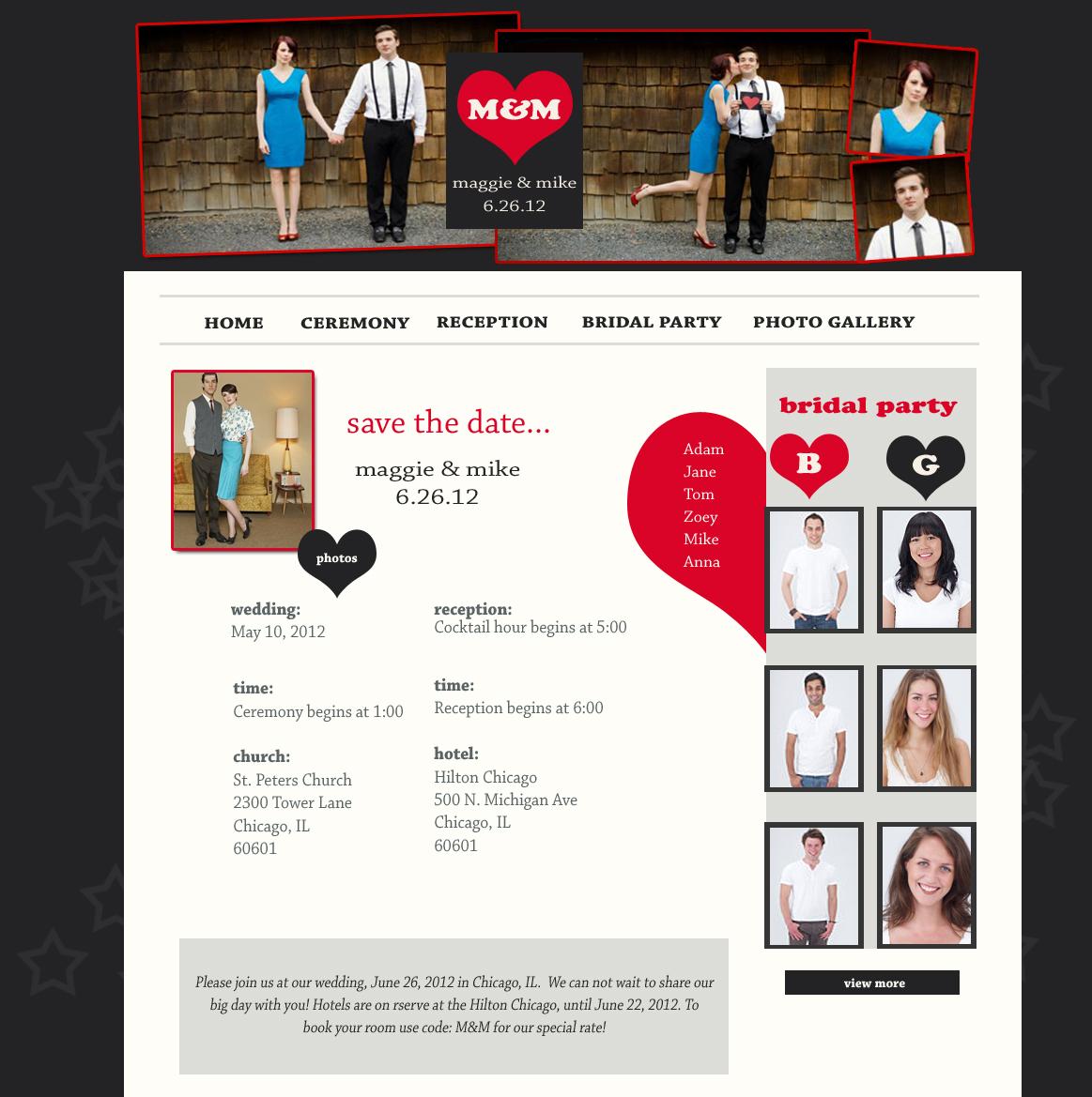Wedding Website Design Gray and Red Wedding Website