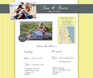 Chicago wedding websites - yellow wedding website design