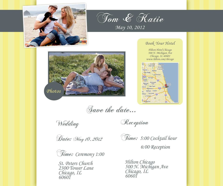 chicago wedding websites yellow wedding website design